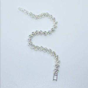 Hearts Diamond CZ Silver Tennis Bracelet